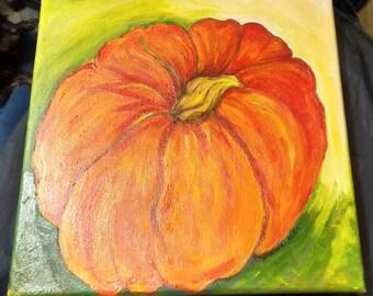 Pumpkin acrylic painting canvas art on stretched canvas,  Halloween original art, Fall, Autumn home decor 10 x 10, orange pumpkin decor