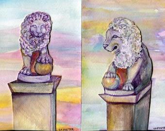 Pair of 2 lion statues paintings,  Bridge of Lions , St. Augustine, Florida Watercolors Paintings original collage elements 5 x 7 painting