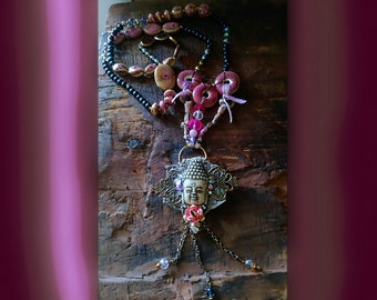Buddha Love & Peace Necklace, Pink, Grey, Ceramic Beads, Crystals, Upcycled, Vintage Rose, Pretty, Long Necklace, Boho