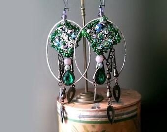 Beaded Hoops, Earrings, Green, Lilac, Silver, Brass, Large Earrings,Sparkle, Boho Earrings, Pretty, Dangle Earrings