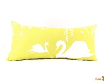 White and Yellow Swan in the Swamp Rectangle Linen Pillow