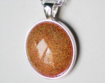 Yellow Orange Gold Holographic Glitter Nail Polish Necklace Jewelry