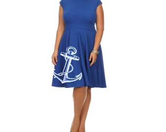 Womens nautical Dress Trendy Plus Size Clothing Anchor dresses retro Anchors Sexy Pin Up Bird Prints 2XL 3XL Women's gift