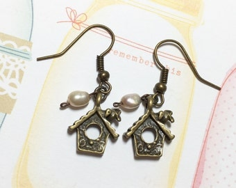 Home Sweet Home Little Bird House Antique Brass Earrings, Fresh Water Pearl Earrings, Bird Earrings,  Gift for Girl, Christmas Gift