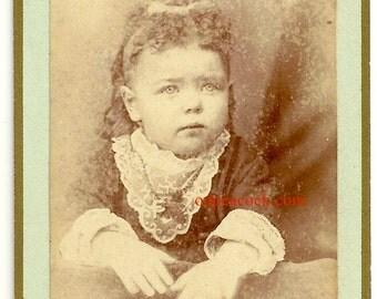 Darling baby F curly hair Victorian cdv antique photo jewelry dress long hair gilt edge fashion