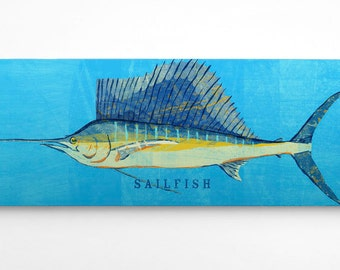 Fish Gifts for Him- Husband Gift- Sailfish Art Block- Saltwater Fish Art- for Beach House Art- Unique Gift Ideas- Gifts- for Dad Gifts