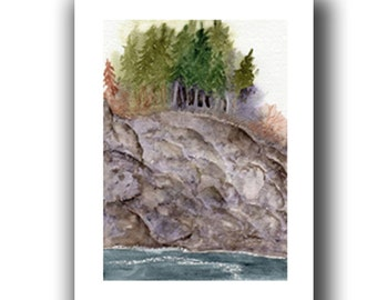 grove on the cliff original watercolor SFA landscape Adirondack Summer