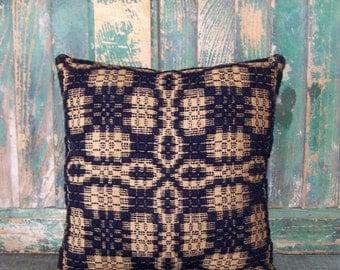 Square Pillow, Antique Coverlet Pillow, Navy Blue & Ecru, Rustic Decor, Country Primitive Folk Art, Small Pillow, Cushion #1 READY TO SHIP
