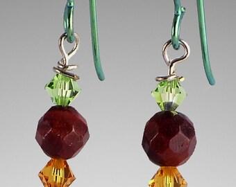 Dangle earrings, gemstone earrings, red tigers eye earrings, handmade earrings