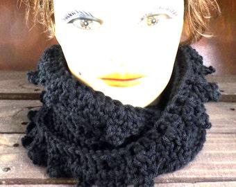 Crochet Scarf, Crochet Infinity Scarf, Crochet Cowl Scarf, Black Scarf, LAUREN, Crochet Scarf