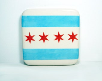 tile of the chicago flag. Made to Order.