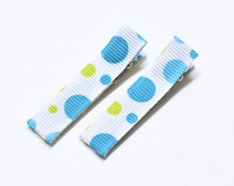 Blue and Green Polka Dot Hair Clips, no slip clips, baby girl clips, toddler clips