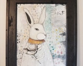 Rabbit Painting, Rabbit Art, Framed Mixed Media Collage Art , Original Animal Painting, Nursery Art , Home Decor Wall Art