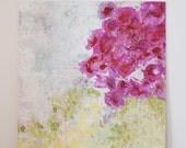 Large Original Acrylic Painting, Flower Art , Abstract Painting, Flower Painting , Fuschia and Green Wall Art , Colorful Canvas Painting