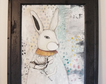 Rabbit Wall Art- Original Mixed Media Collage Painting, Whimsical Framed Art for the Nursery