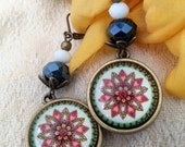 Mandala flower leverback earrings - bronze *Free Shipping*