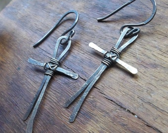 MADE TO ORDER Hammered Sterling Silver Cross Earrings, Cross Earrings, Easter Earrings