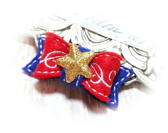 Patriotic Dog Bows - Pet Hair Accessory, Pet Bow, Embroidery Design, USA Pride