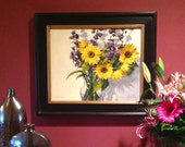 Saturday's Sunflowers - 16 x 20 Inch Original Impressionist Style Oil Painting of Sunflowers - Flower Painting - Living Room Art