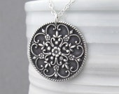 Flower Mandala Necklace Long Silver Necklace Sterling Silver Large Circle Pendant Necklace Birthday Gift for Her Flower Jewelry