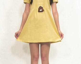 Spring summer baby-doll girl dress in yellow or blue