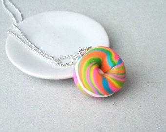 Rainbow Bagel Necklace - polymer clay miniature food jewelry