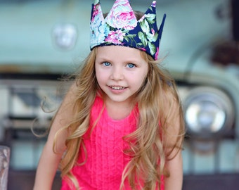 Dress Up Crown - Sequin Crown - Birthday Crown - Navy Floral Crown Reverse Navy Sequins - Fits all
