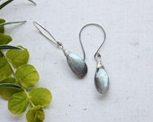 labradorite earrings, light blue gemstone jewelry, sterling silver earrings, faceted stone earrings