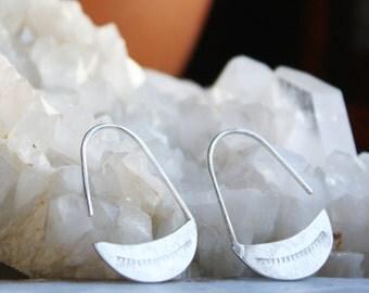 Silver Earrings, Sterling Silver Crescent Moon Hoops, Arc Earrings, Teardrop Hoop