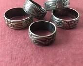Sofort lieferbar! Kunst Nouveau Ring U.S. Größen 3,5 / 5,25 / 8,25 / 8,5 / 9: Sterling Silber, oxidiert