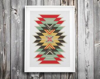 modern cross stitch pattern ++ indian tribal boho craft ++ pdf INsTAnT DOwNLoAD ++ diy ++ hipster ++ handmade design