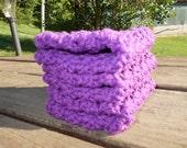 SALE-Crochet Dishcloths Washcloths Face Scrubbies-Set of 3-Purple