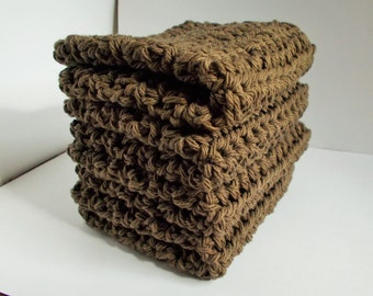 Crochet Dishcloth/ Washcloth - Handmade Wash Rag -Set of 4 Kitchen Dish Cloths-Extra LARGE SIZE-Brown Stack