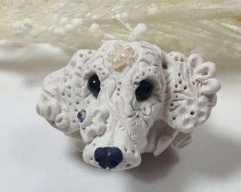 Bridal European Dog Charm Bead all breeds custom made bead per your specifications - Dachshund example
