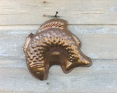 ON HOLD Copper Fish Mold, B & M Portugal, Vintage Country Farmhouse Decor, Kitchen Wall Hanging