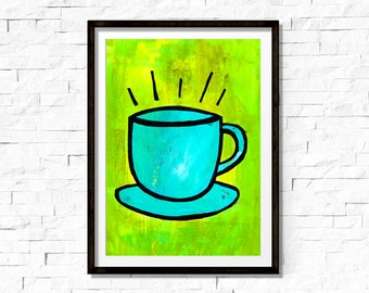 Coffee Cup Art Print - Coffee Kitchen or Office Decor - Colorful Modern Wall Art Decor - Blue and Green - Coffee Lover Gift - Giclee Poster