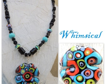 Whimsical Handmade Lampwork Bead Necklace with FREE EARRINGS