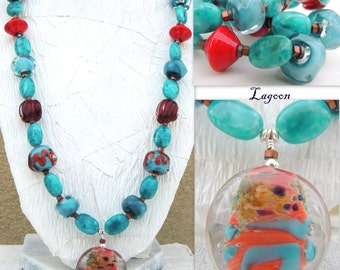 Lagoon Handmade Lampwork Bead Necklace with FREE EARRINGS