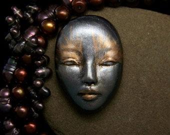Metallic Goddess Face Mask Cab Metallic Silver, Gold, & Black Polymer Clay Cabochon