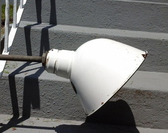 Vintage Industrial Barn Porcelain Enamel Gas Station Light Fixture