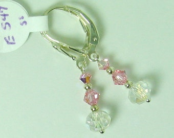 Light Rose AB and AB Crystal Swarovski Crystal and Sterling Silver Earrings - E547