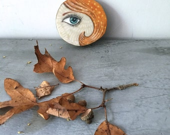 Ginger hair, eye piece, blue eye, gifts for her, tiny art, birthday gift, Original Fabric art on Wood slice