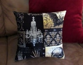 Victorian Gothic - 12x12 Pillow - with form - Nevermore fabric - Skull - Black - Dark - Accent Pillow - Handmade - Yellow - Bat - Damask