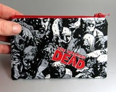The Walking Dead - Change Purse - Zippered Pouch - Coin Purse - Black and Red - Zombies - Horror - Comics - Black - Red