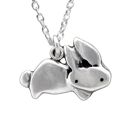 Sterling Rabbit Necklace - Silver Bunny Necklace