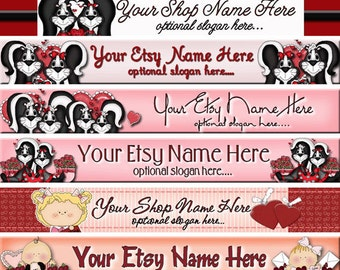 Raggedy Dreams Designs - Premade Etsy Shop Banner - Etsy Banner - SHOP ICON - Valentine Annie Andy Hearts Skunks Roses
