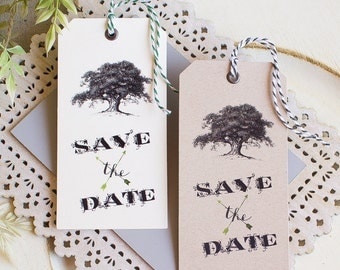 Vintage Wedding Save the Date  Hinged Shipping Tags Oak Tree Woodland Southern Wedding