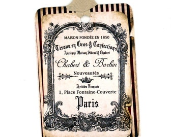 Shabby French Gift Tags , Vintage French Tags , Black and Cream , Paris Tags , Black Striped Tags , French Text