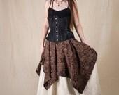 Brown Brocade Pixie Skirt Renaissance Halloween Costume