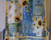 Sunflowers and Paisley on a Patchwork Background #2078  Size Medium